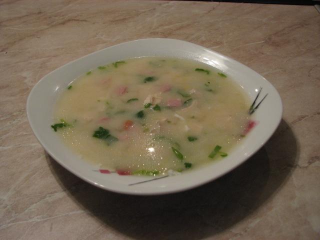 Рецепт куриного супа с ветчиной и кукурузой