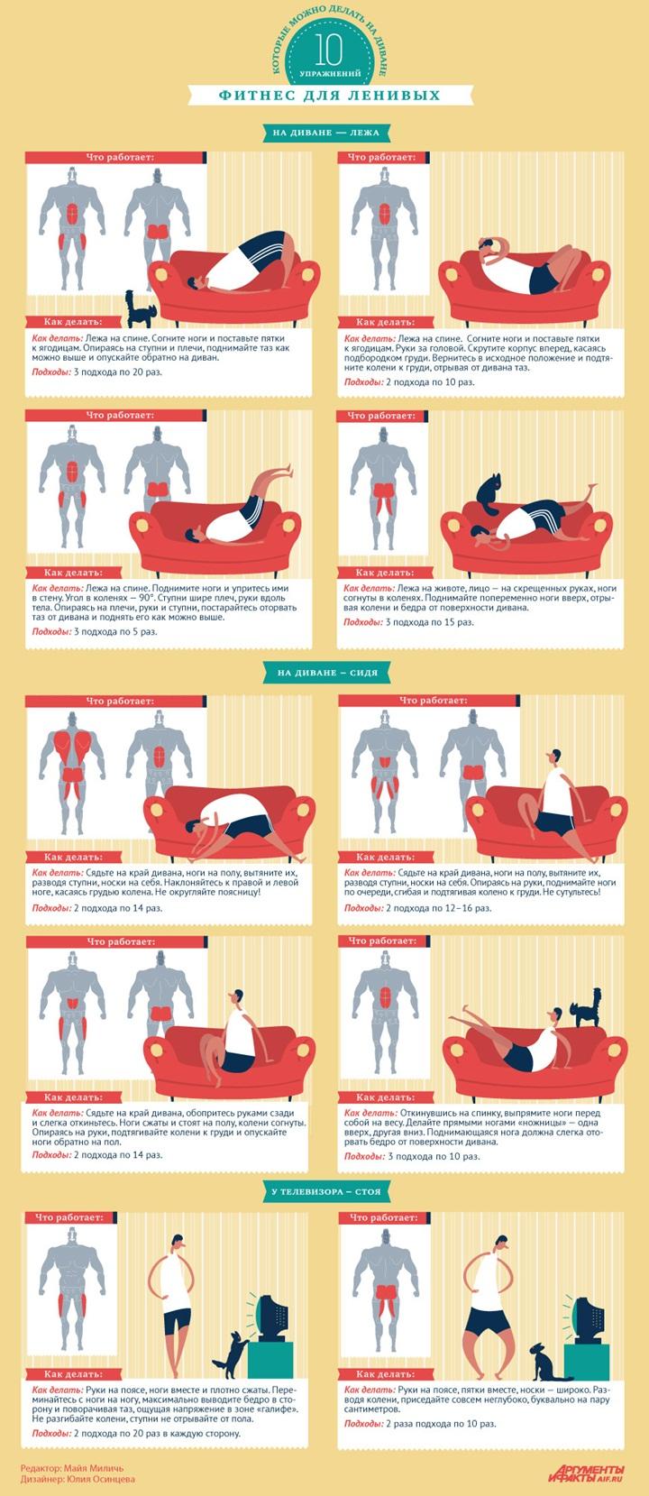 Тренировки для ленивых: занятия спортом перед телевизором