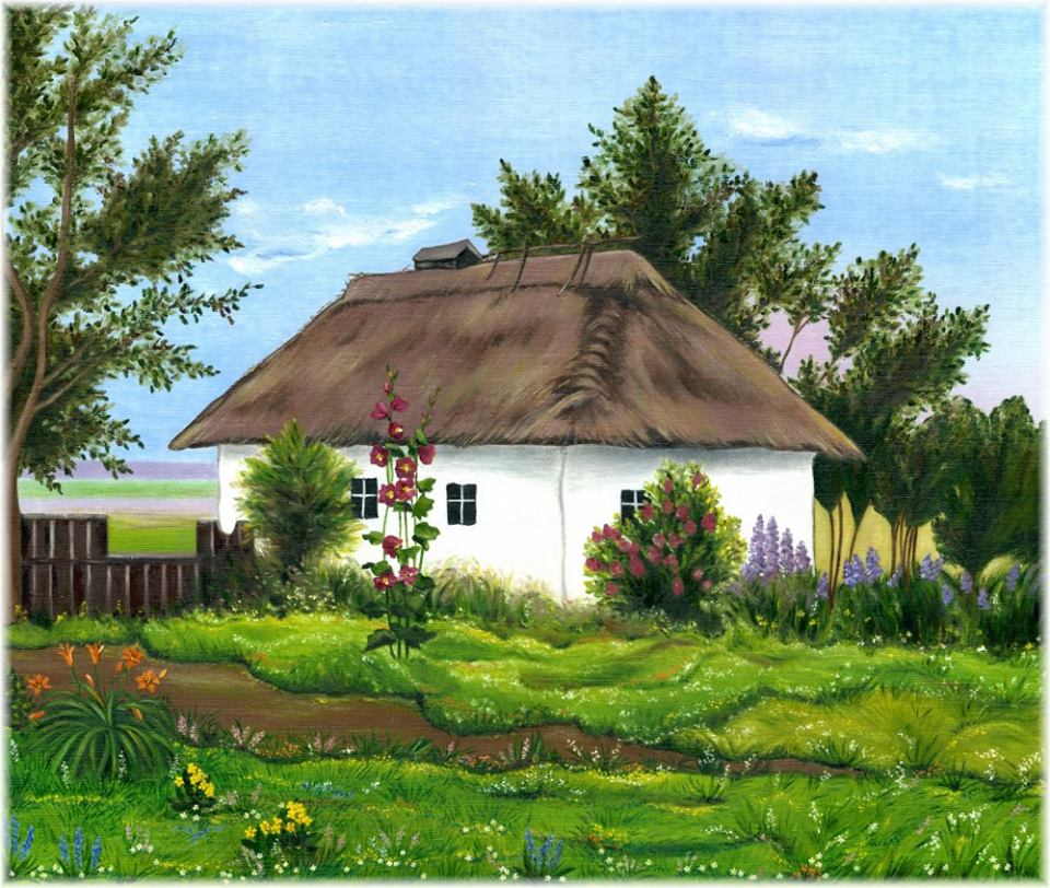 "Худ. Ефим Волков (1844-1920). ""Український пейзаж з хатою"""