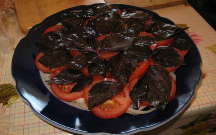 Семга с томатами и базиликом