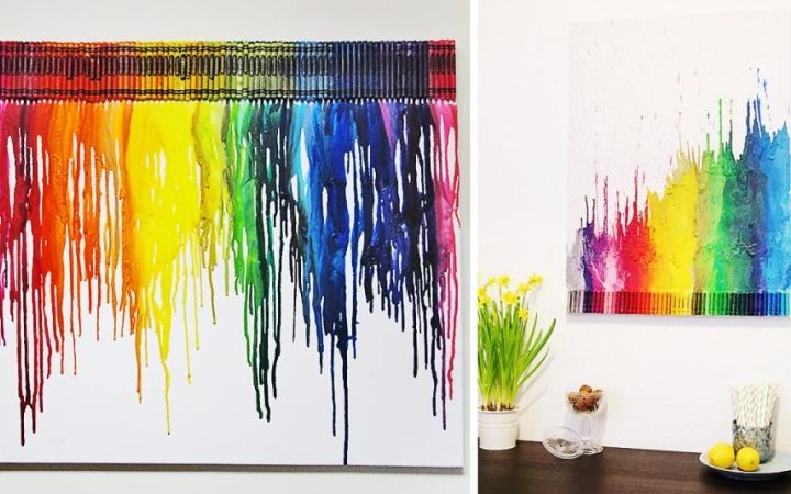 Как нарисовать картину для дома своими руками. Фен и восковые карандаши