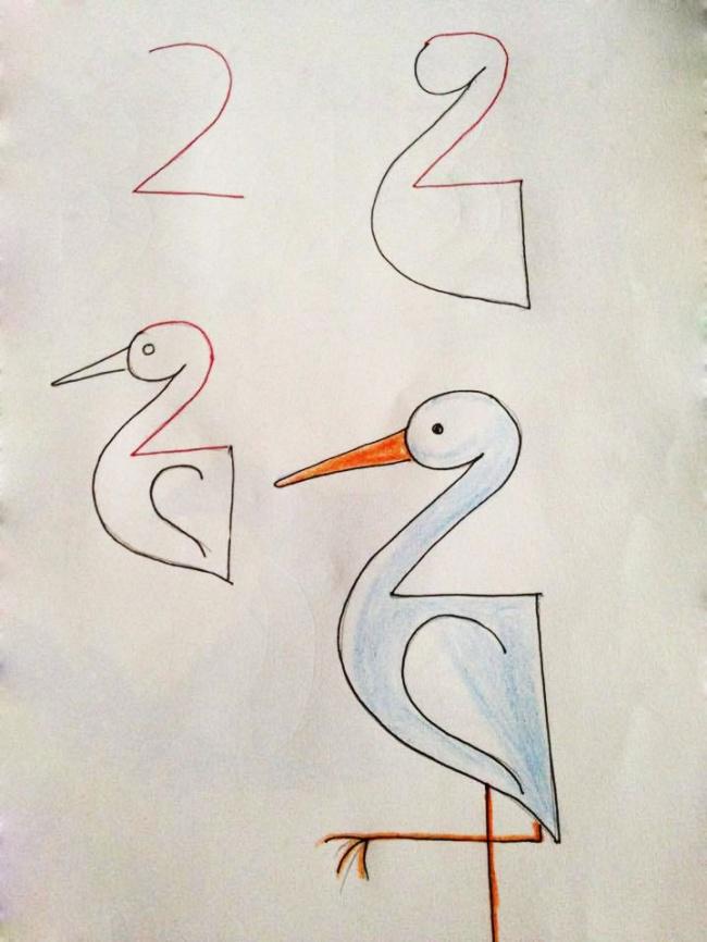 Урок рисования + занятная арифметика: учимся рисовать с помощью цифр. Аист