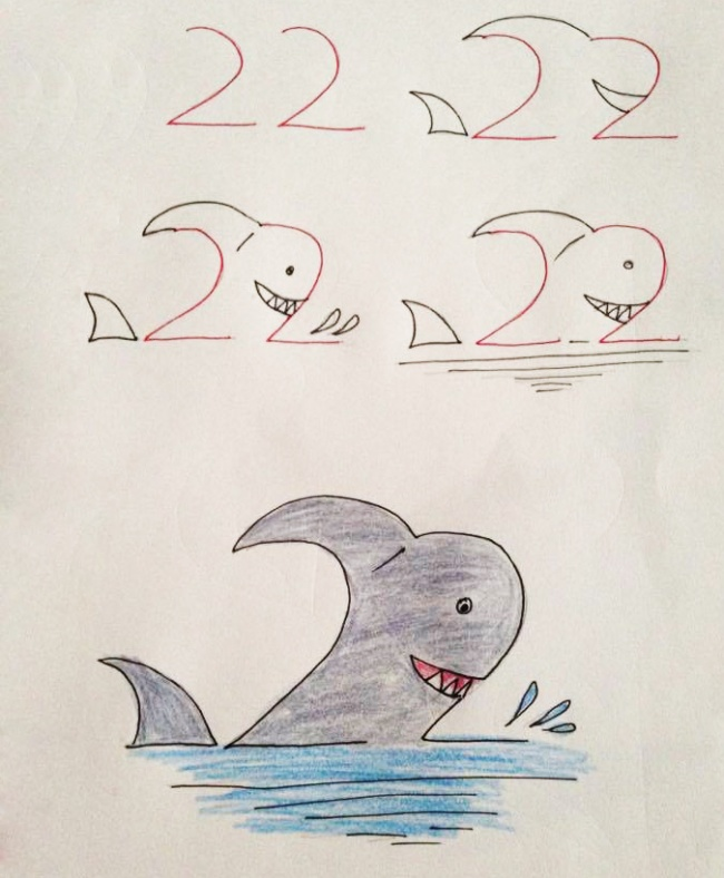 Урок рисования + занятная арифметика: учимся рисовать с помощью цифр. Акула