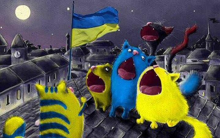 Флаг Украины. Котики. Картина. Арт.