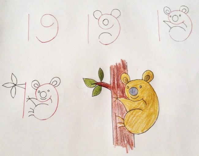 Урок рисования + занятная арифметика: учимся рисовать с помощью цифр. Коала