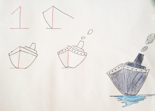 Урок рисования + занятная арифметика: учимся рисовать с помощью цифр. Корабль