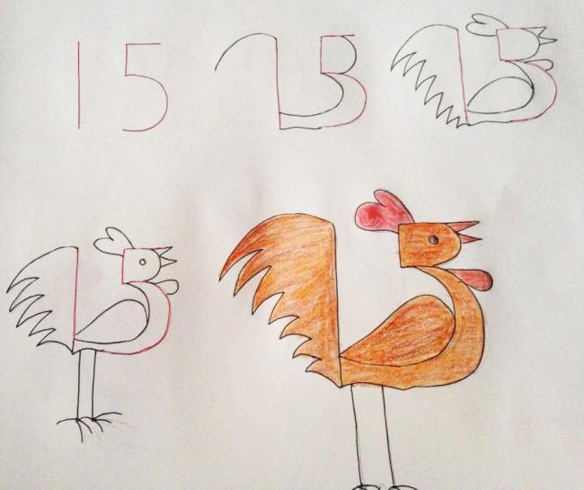 Урок рисования + занятная арифметика: учимся рисовать с помощью цифр. Петушок