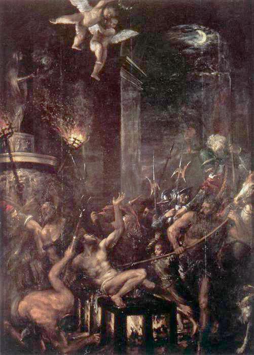 Мученичество святого Лаврентия. Тициан. Живопись