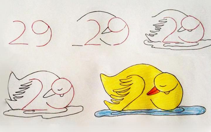 Урок рисования + занятная арифметика: учимся рисовать с помощью цифр. Утка