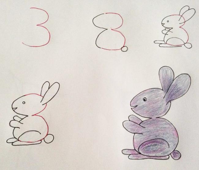 Урок рисования + занятная арифметика: учимся рисовать с помощью цифр. Зайчик