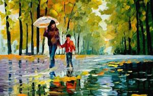 Прогулка. Осень. Дети. Люди. Картина